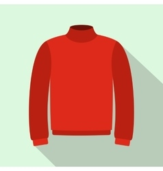 Red warm sweater icon flat style vector