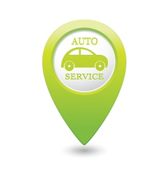 auto service icon on green map pointer vector image vector image