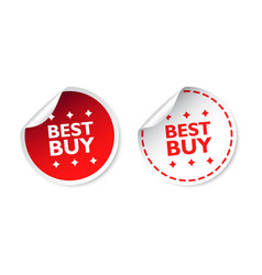 Best buy sticker business sale red tag label on vector