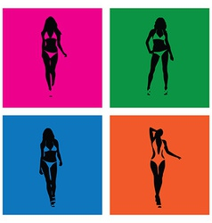 bikini girls silhouettes vector image