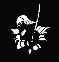 Black white samurai figure with sword vector