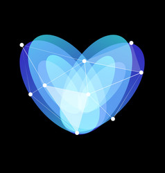 Blue abstract glass heart symbol with lines web vector