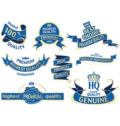 Blue banner ribbon set vector