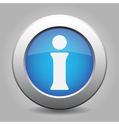 blue metal button with information vector image