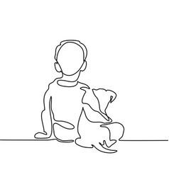 Boy hug dog vector