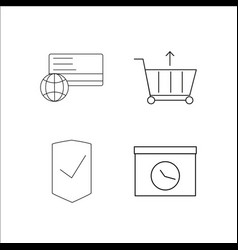 Business simple linear icon setsimple outline vector