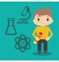 Cartoon boy pencil and chemical icons vector