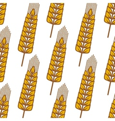 Cartoon ripe cereal ears seamless pattern vector