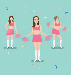 Cheer leader girl with pompoms sport beautiful vector