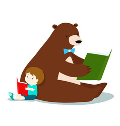 cute boy and fluffy bear are reading a book vector image vector image