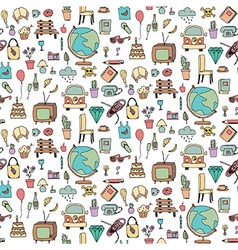 Everyday things handdrawn seamless pattern vector