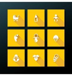 flat baby icon set vector image vector image