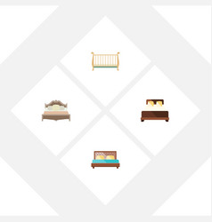 Flat bed set of hostel bedroom cot and other vector