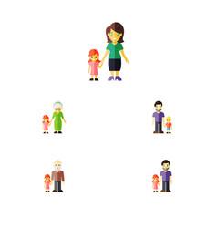 flat icon family set of grandchild grandpa son vector image vector image