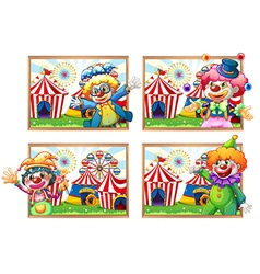 Four photo frame of clowns at the circus vector image vector image
