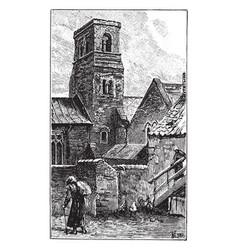 Jarrow church tower dedication of the church vector