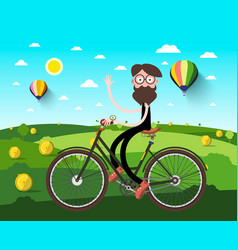 Man on bicycle on field with hey heaps and hot vector
