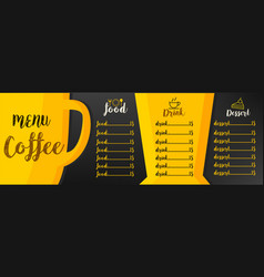 menu coffee vector image vector image