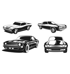 Monochrome set of retro muscle cars vector
