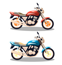 motorcycle icons set in flat style vector image vector image