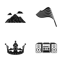 Mountain flag and other web icon in black style vector