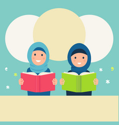 Muslim girls wearing hijabs read books vector