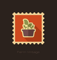 Plant in pot retro flat stamp garden flowerpot vector