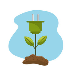 Power cable plant with leaves and earth vector