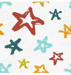 Seamless childish pattern with hand drawn stars vector