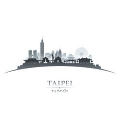 taipei taiwan city skyline silhouette white vector image