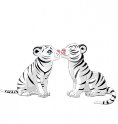 Two white tigers in love vector