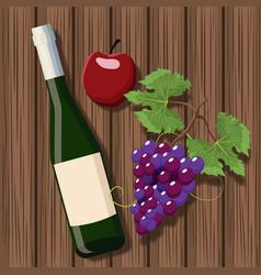 Wine bottle design over wooden background vector