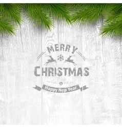 Wooden background with holiday typography vector image vector image
