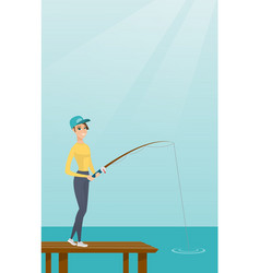 Young caucasian woman fishing on jetty vector