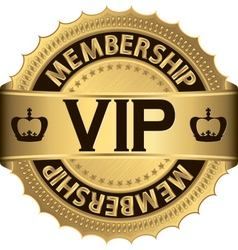 Vip membership golden label vector image