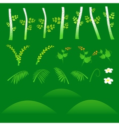 Set of flat forest elements Include grass flowers vector image