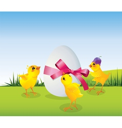 Easrer chicken with egg vector