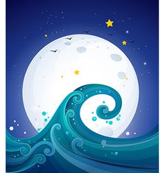 Big waves below the bright fullmoon vector