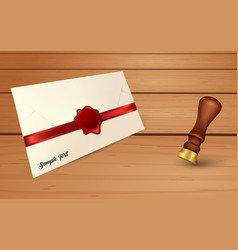 Envelope and red wax seal with seal stamp vector