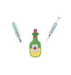 Thermometer syringe medicene bottle set vector