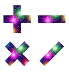 Set of mathematical signs firework vector
