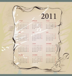template for vintage calendar 2011 vector image
