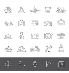 Line icons vacation vector