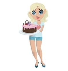 Cartoon cute girl with birthday cake vector image