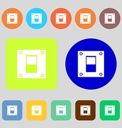 Power switch icon sign 12 colored buttons flat vector