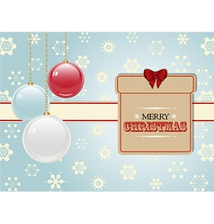 Christmas present label and baubles vector