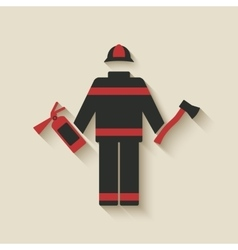 Fireman with extinguisher and axe vector