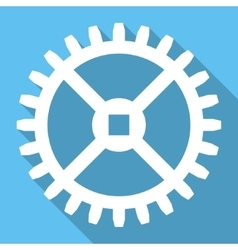 Clock gear flat square icon with long shadow vector