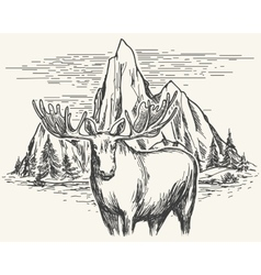 Hand drawn landscape with moose vector