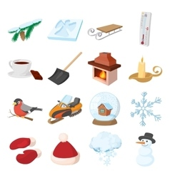 Winter icons icons set cartoon style vector